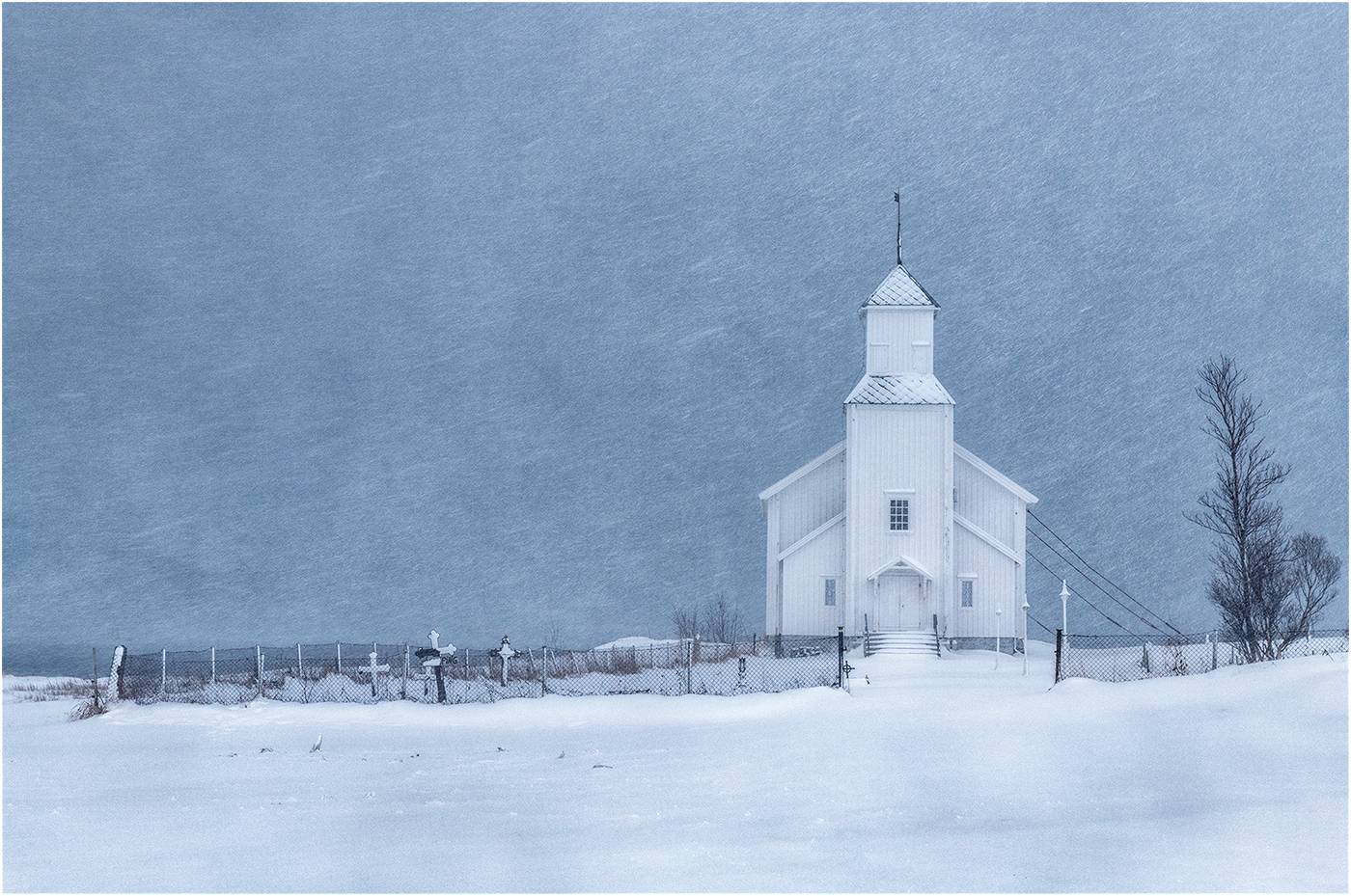 Ric Harding.   Gimsoykirke in a Snowstorm