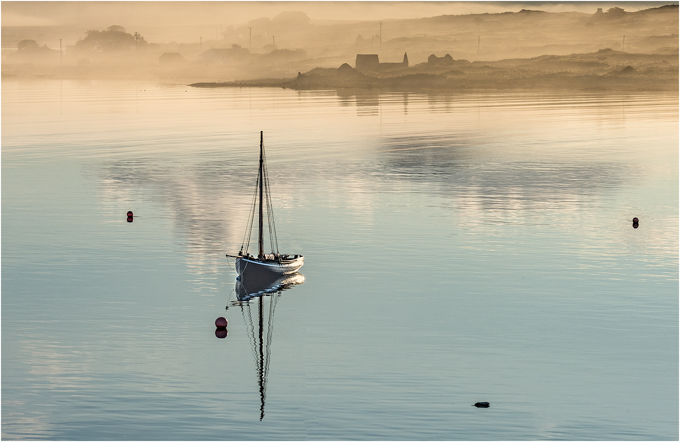 Ric Harding.   Misty Sunrise in Roundstone Harbour
