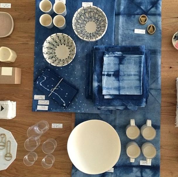 Organic indigo table linens