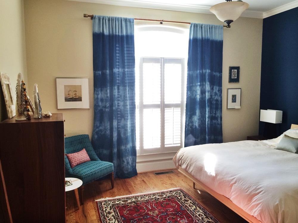 Custom Italian Linen Indigo Shibori Curtains