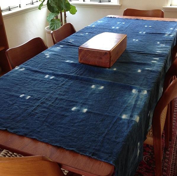 Custom Japanese Indigo Adire Multi Use Textile.