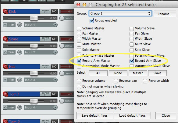 Selecting all my band tracks, it's a simple matter of Shift-G to bring up the group dialog. Pick a group number (in this case 1), and click both master and slave arm. Done.