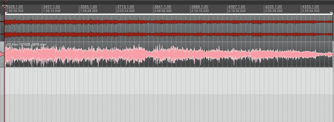 Here is a typical weekend sermon recording waveform. This is where we start.