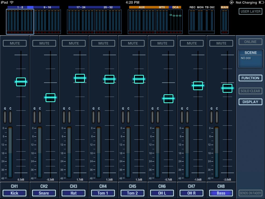 Long fader mode for wireless mixing.
