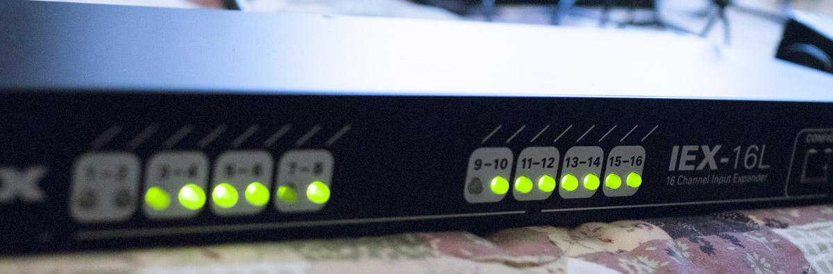 The big green lights make it easy to see signal flow into the A/D converter.
