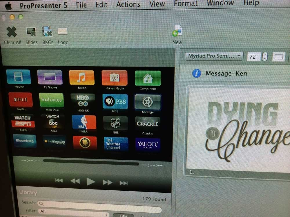 Yup, that's the Apple TV main menu live in ProPresenter.