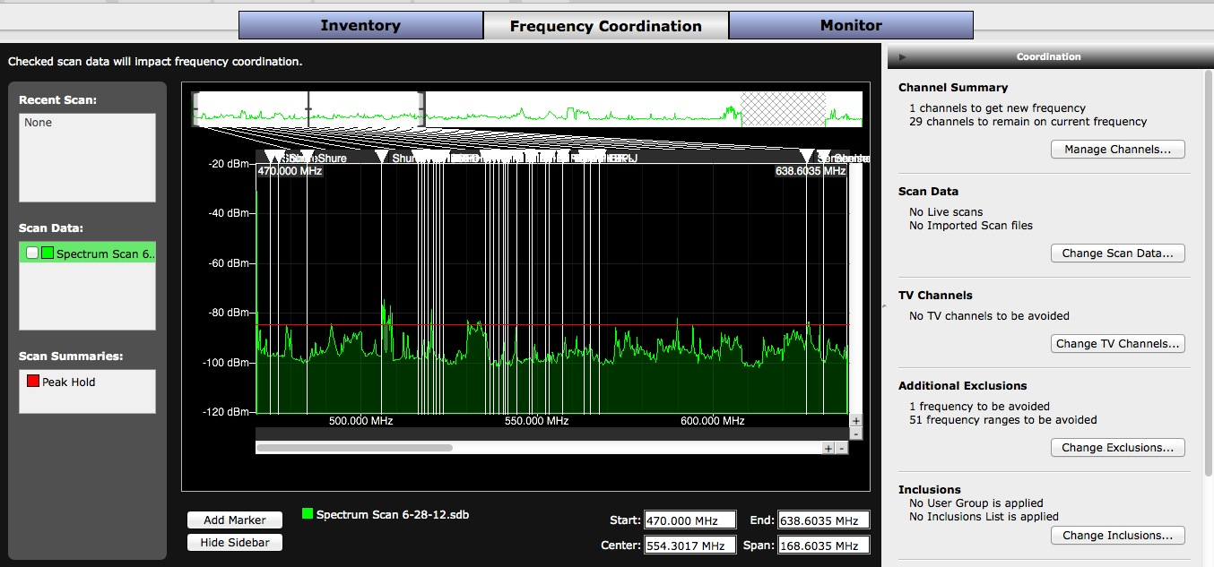 This is my spectrum scan, along with the channels WWB has assigned.