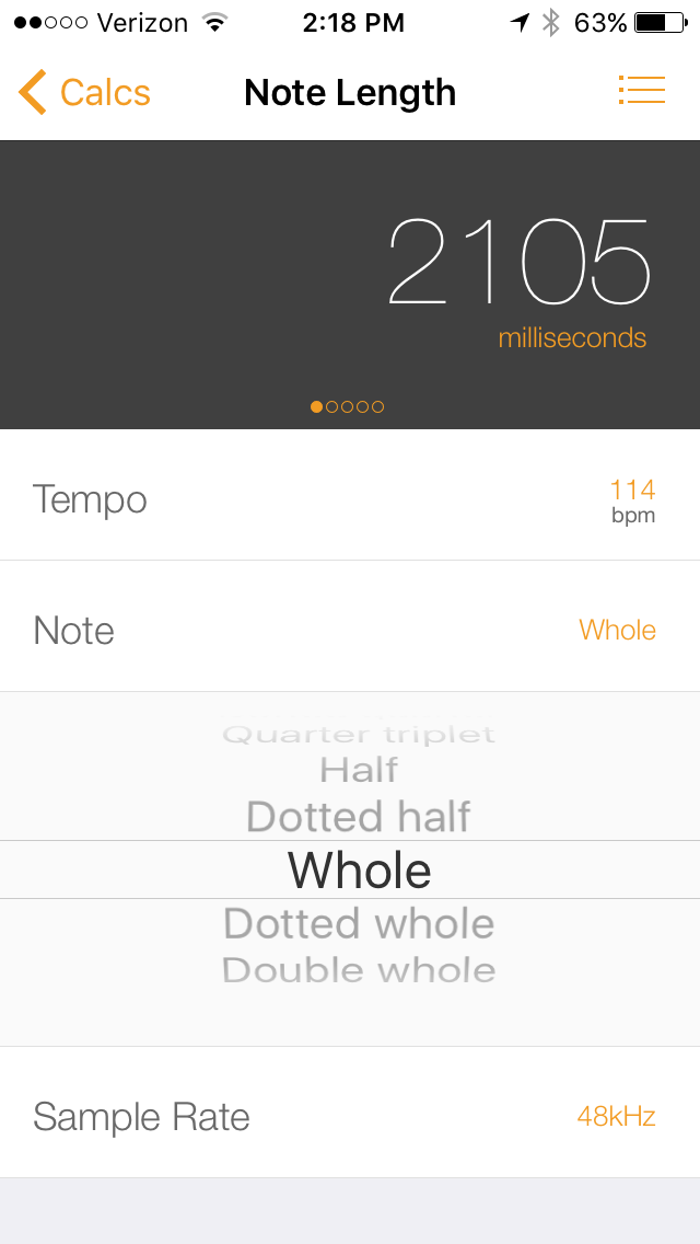 My tempo calculator of choice,  Audiofile Calc.