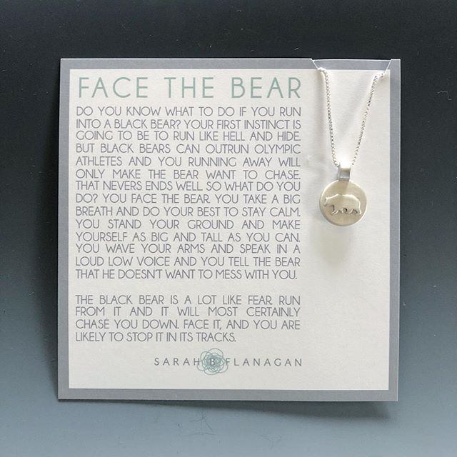 FACE THE BEAR. I just created this necklace this past week. Sometimes I find the most authentic designs come to me when I'm faced with a mountain of other work that actually has to get done. My brain instantly starts throwing out ideas that were apparently hiding in small corners - only to be reached when focused elsewhere. Since people close to me called me Bear when growing up - and I am no stranger to worry and anxiety, this one is personal. And yet, one that I think a lot of people will relate to. #handcraftedjewelry #faceyourfears #bearnecklace #the100dayproject