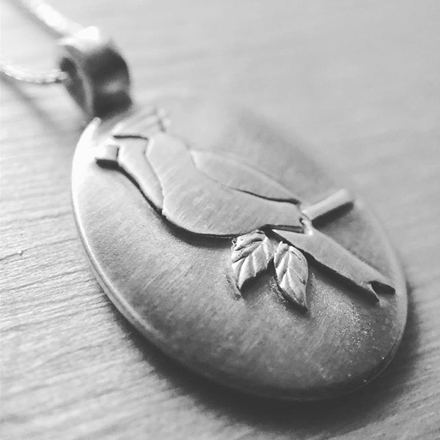 So many new pieces in the works. First up: The Cardinal ... #cardinal #handcraftedjewelry #birdnecklace