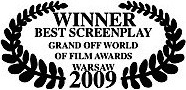 winner best screenplay grand off world of film awards warsaw 2009 james connor clements.jpg