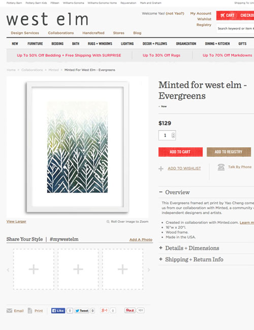 West Elm x Minted  collaboration- selected exclusive art prints