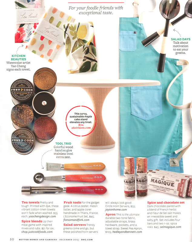 Better Homes and Garden Magazine  - December 2015 gift guide feature