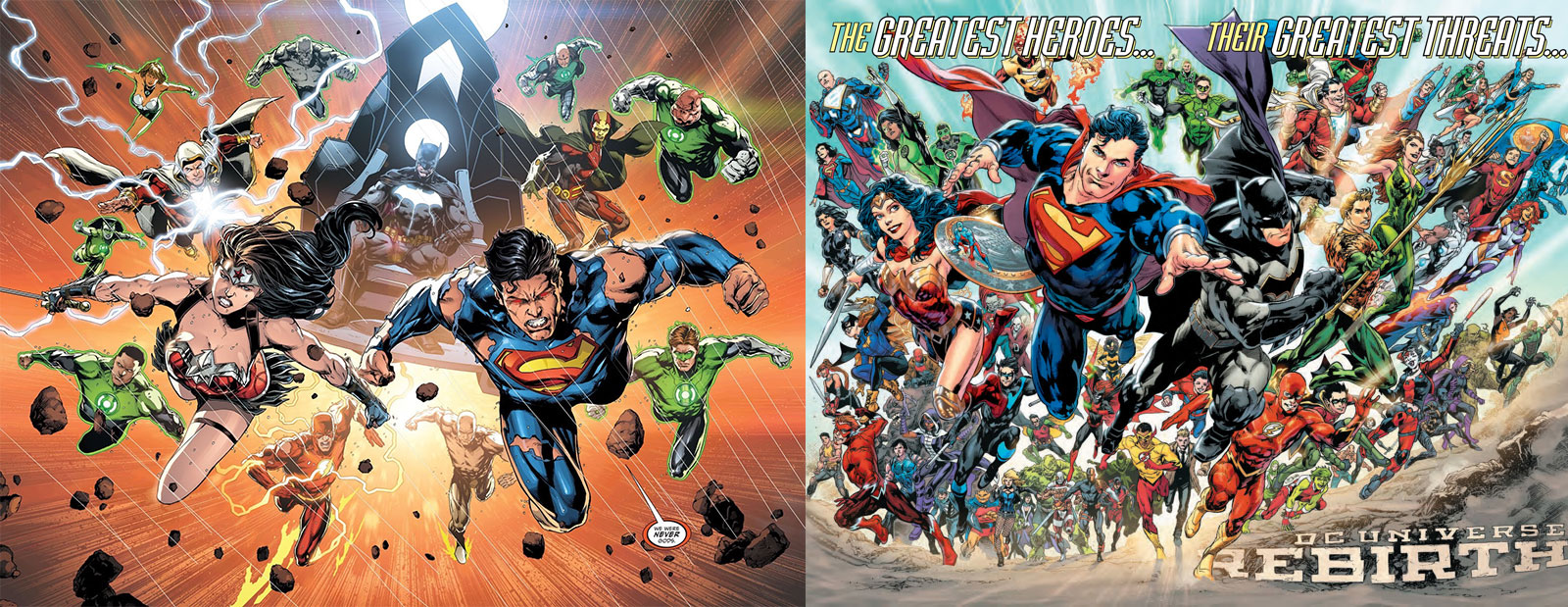 Even the splash pages from  Justice League  #50 (left) and  DC Universe: Rebirth  #1 (right) signal a change in tone. Grizzled warriors on the left turn into smiling, hopeful heroes on the right. It's like a microcosm for the shift that's happening. And both of these books were published on the same day!