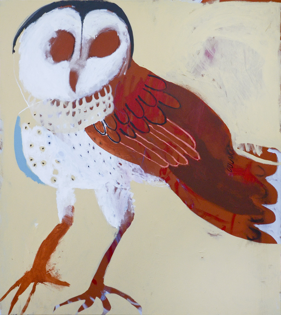 Nice Owl  2016 Acrylic and charcoal on cotton canvas 137 x 121cm
