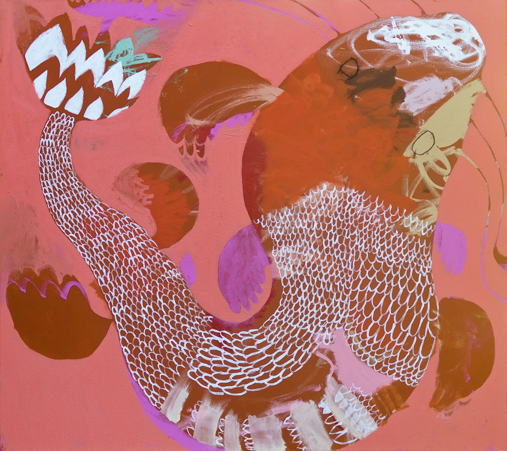 Magic Fish   2015 Acrylic and charcoal on cotton canvas 121 x 137cm