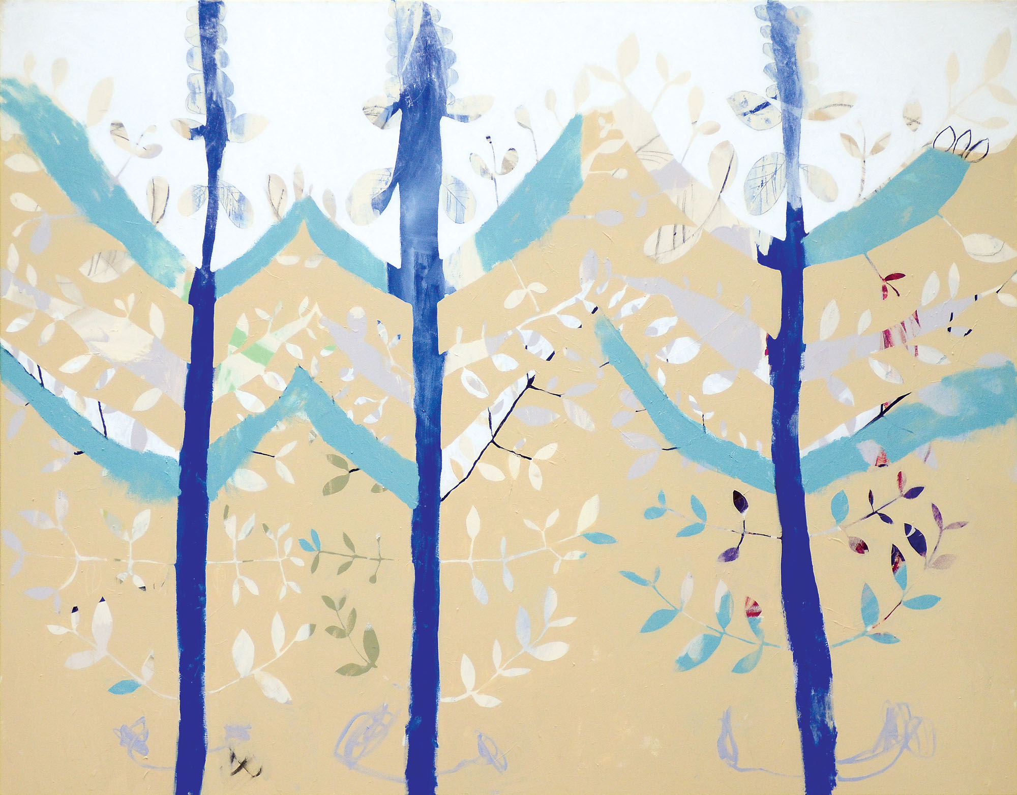 Holy Basil 2014, acrylic and charcoal on cotton canvas, 167 x 213cm