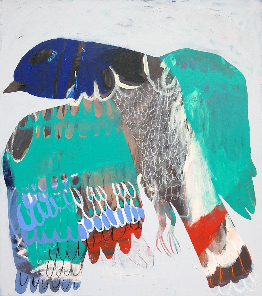Buffer Creek Pigeon  2013 Acrylic and charcoal on cotton canvas 137 x 121cm