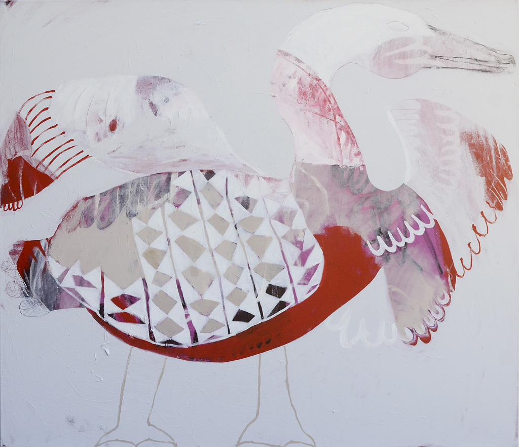 Duck Duck Goose  2013 Acrylic and charcoal on cotton canvas 121 x 137cm