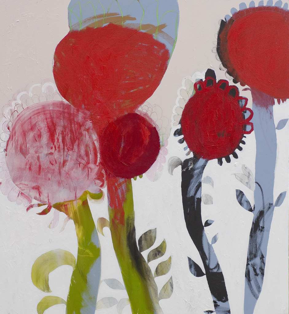 Five Beetroot  2012 Acrylic and charcoal on cotton canvas 152 x 137cm