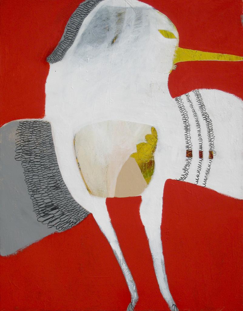 Hummingbird  2008 Acrylic and charcoal on cotton canvas 135 x 105cm