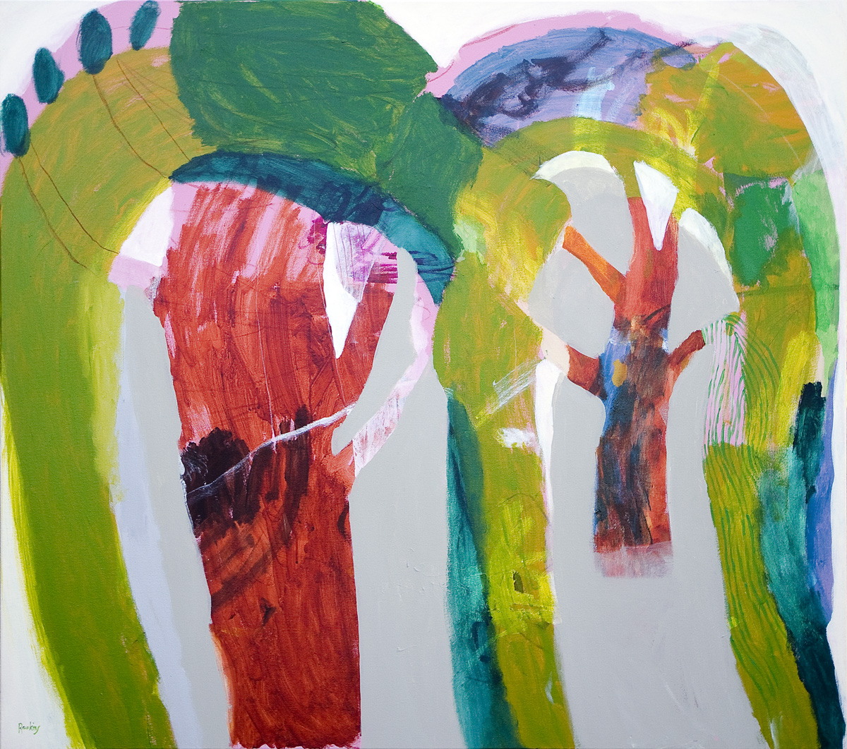 Two Trees, acrylic and charcoal on cotton canvas 121 x 137cm
