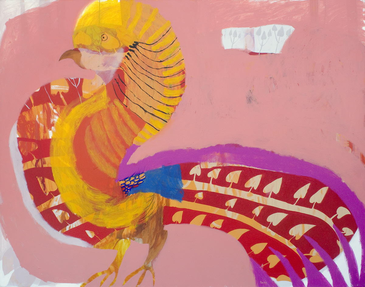 Golden Pheasant, The Painted Bird  2019 Acrylic and charcoal on canvas 167 x 213cm