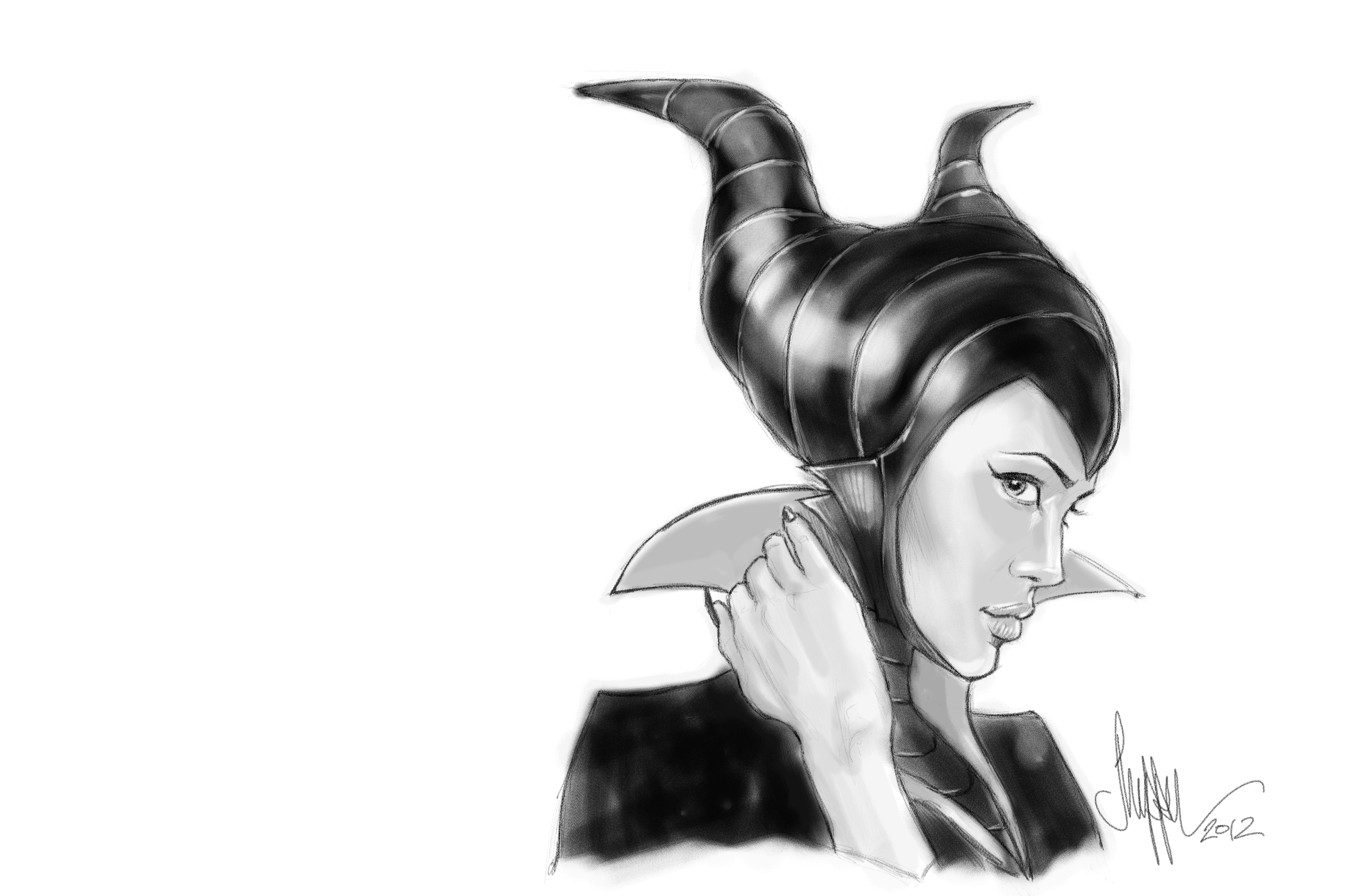 I wanted to draw Maleficent, one of mine and my daughters favorites for the new Disney Villains Show over at Plant-Pulp and after doing a little scouring on the inter-webs, I read about Tim Burton possibly making a film about Maleficent with Angelina Jolie… Couldn't help myself…   Check out all the other amazing Disney Villains art by fellow Rogues over at  http://www.planet-pulp.com