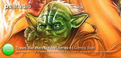 Nobody has correctly answered the question yet to win a special prize. Name the 2 Characters are in my new painting... With this new preview image you should have the answer to one... but who could the other one be???        Check back every weekend in January for another close crop of the new artwork for Topps Star Wars Galaxy Series 4...       www.paulshipper.com