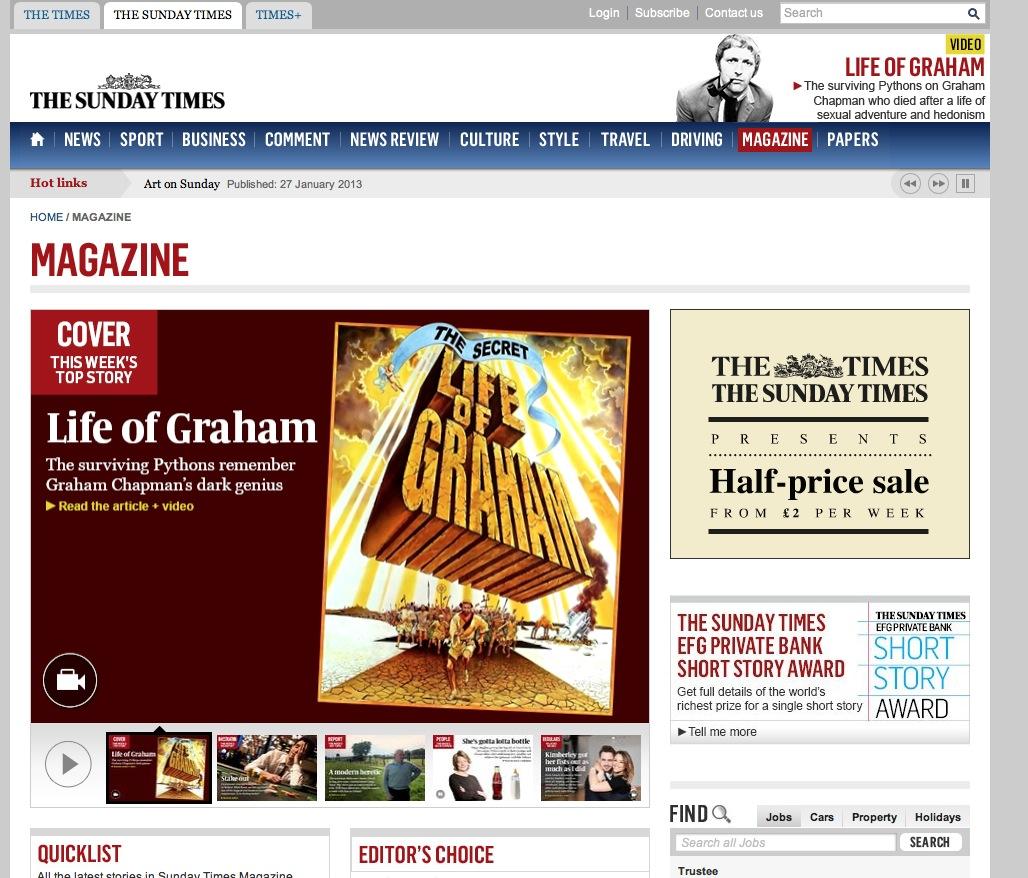 Sunday Times Magazine - Life of Graham