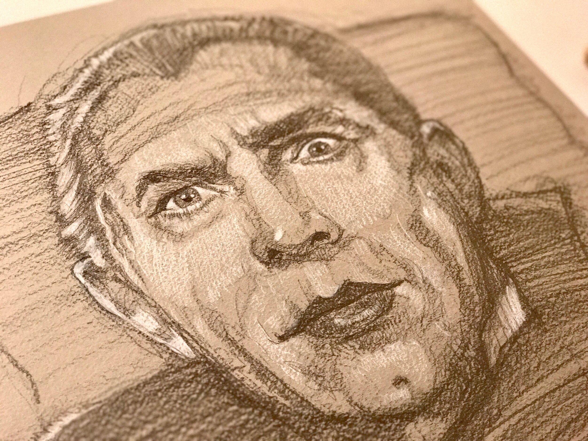Paul Shipper, 2016 sketch of Bela Lugosi from  Mark of the Vampire  (1935) - closeup image.