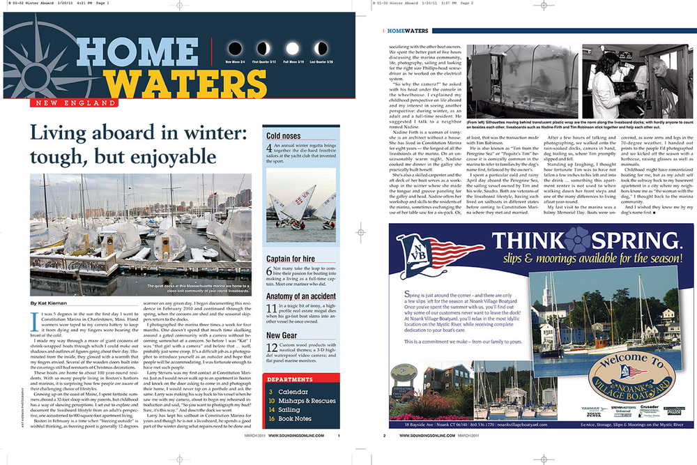 Living Aboard in Winter: Tough, but Enjoyable  Soundings Magazine (March 2011)
