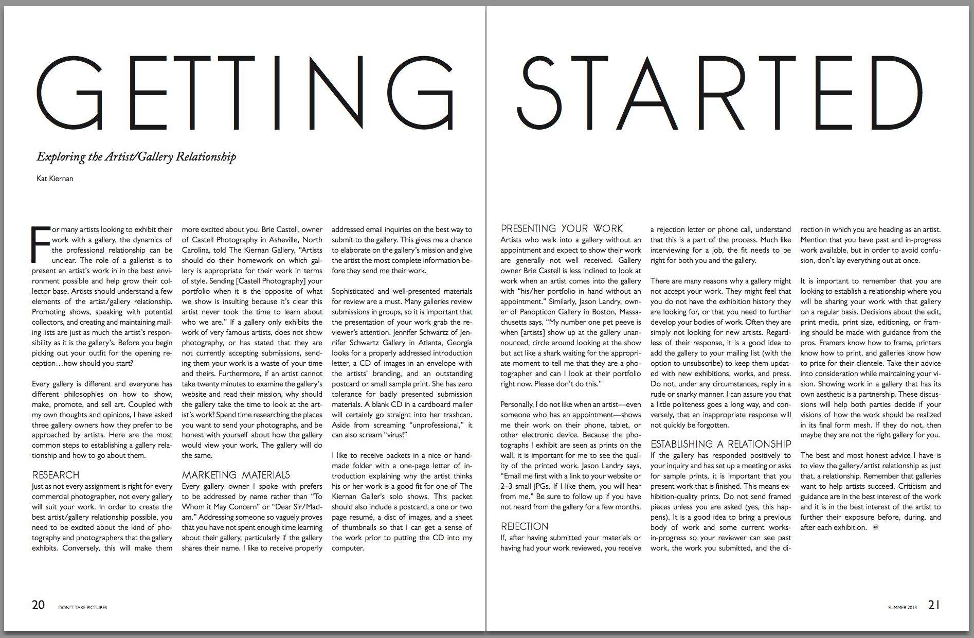 Getting Started: Exploring the Artist/Gallery Relationship  Don't Take Pictures, Issue 1 (September 2013)