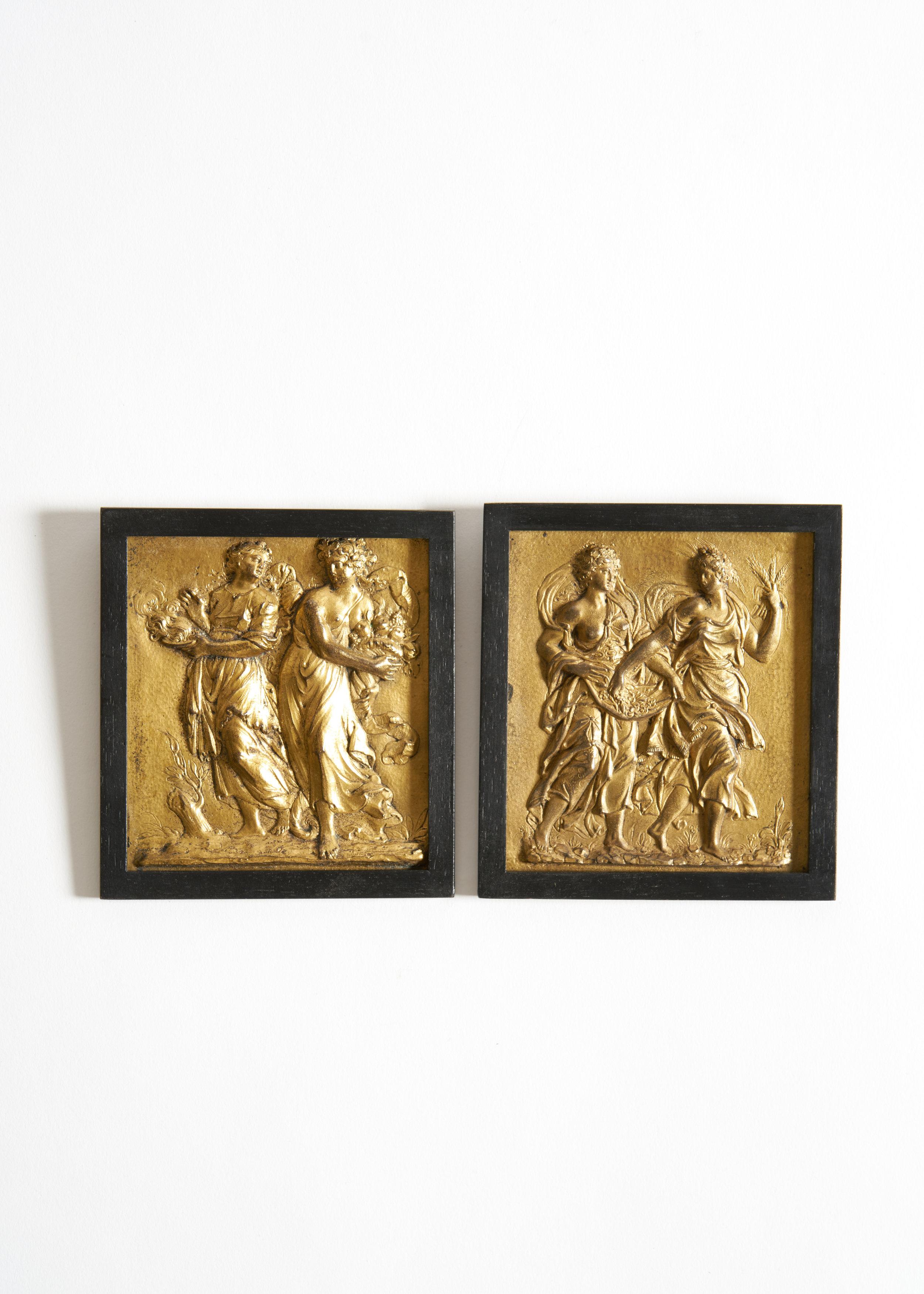 Gilt Bronze Plaques of the Four Seasons