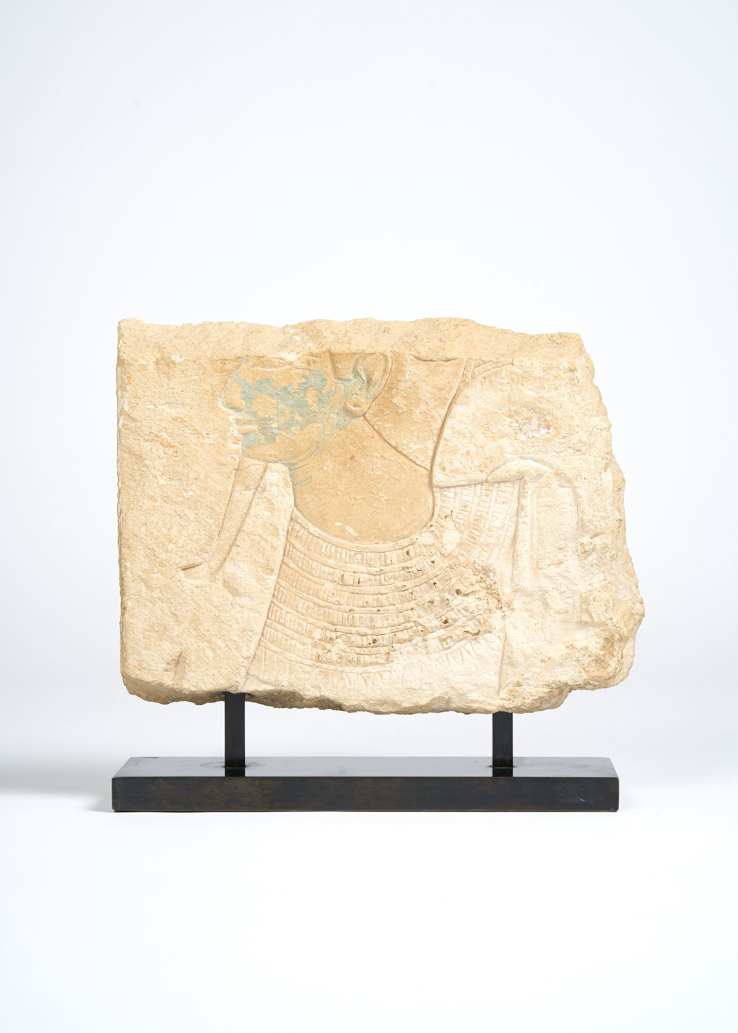 Egyptian Limestone Bas Relief Framgent with Blue Pigment