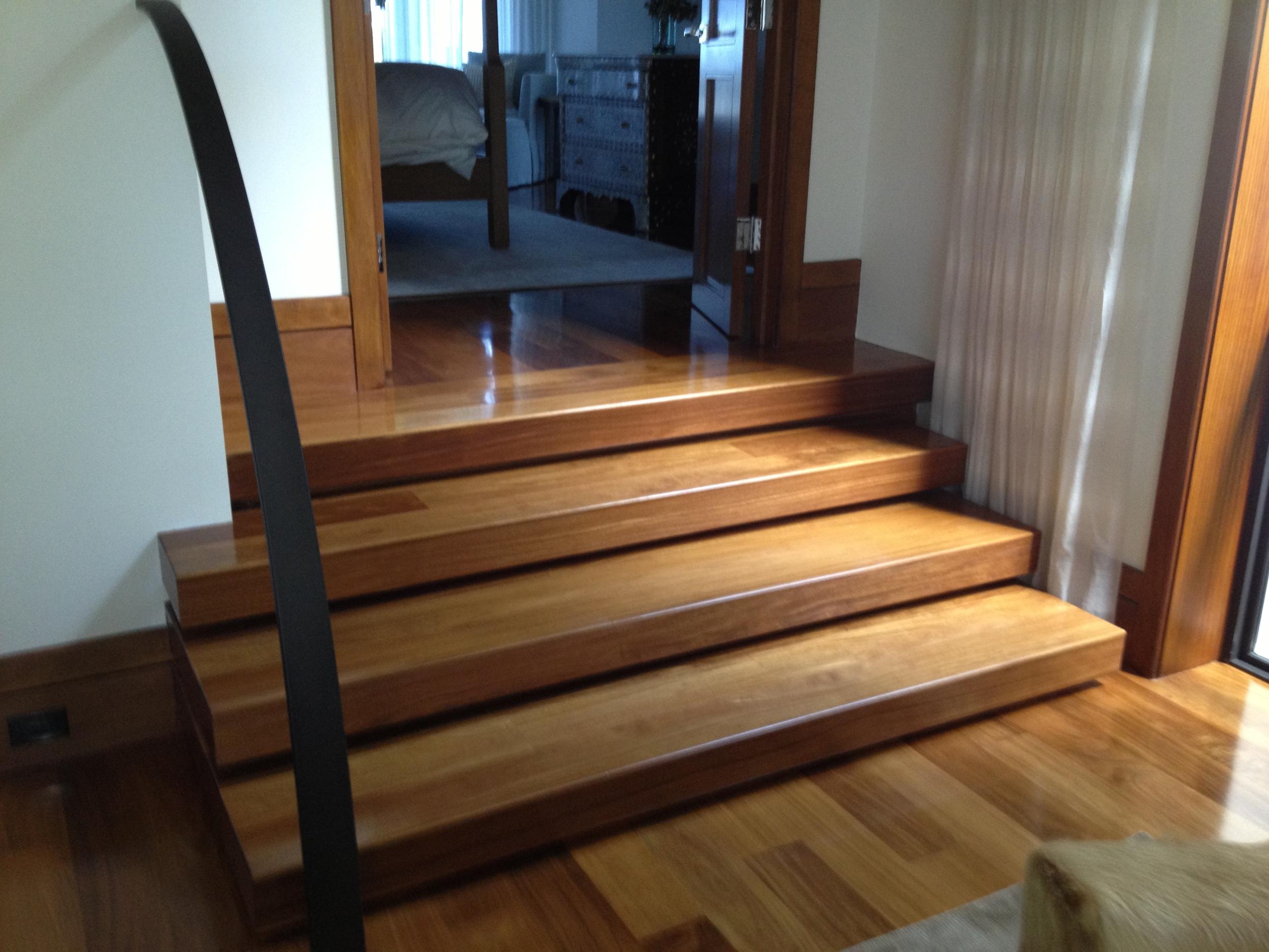 Solid Celtis Light Custom Stairs