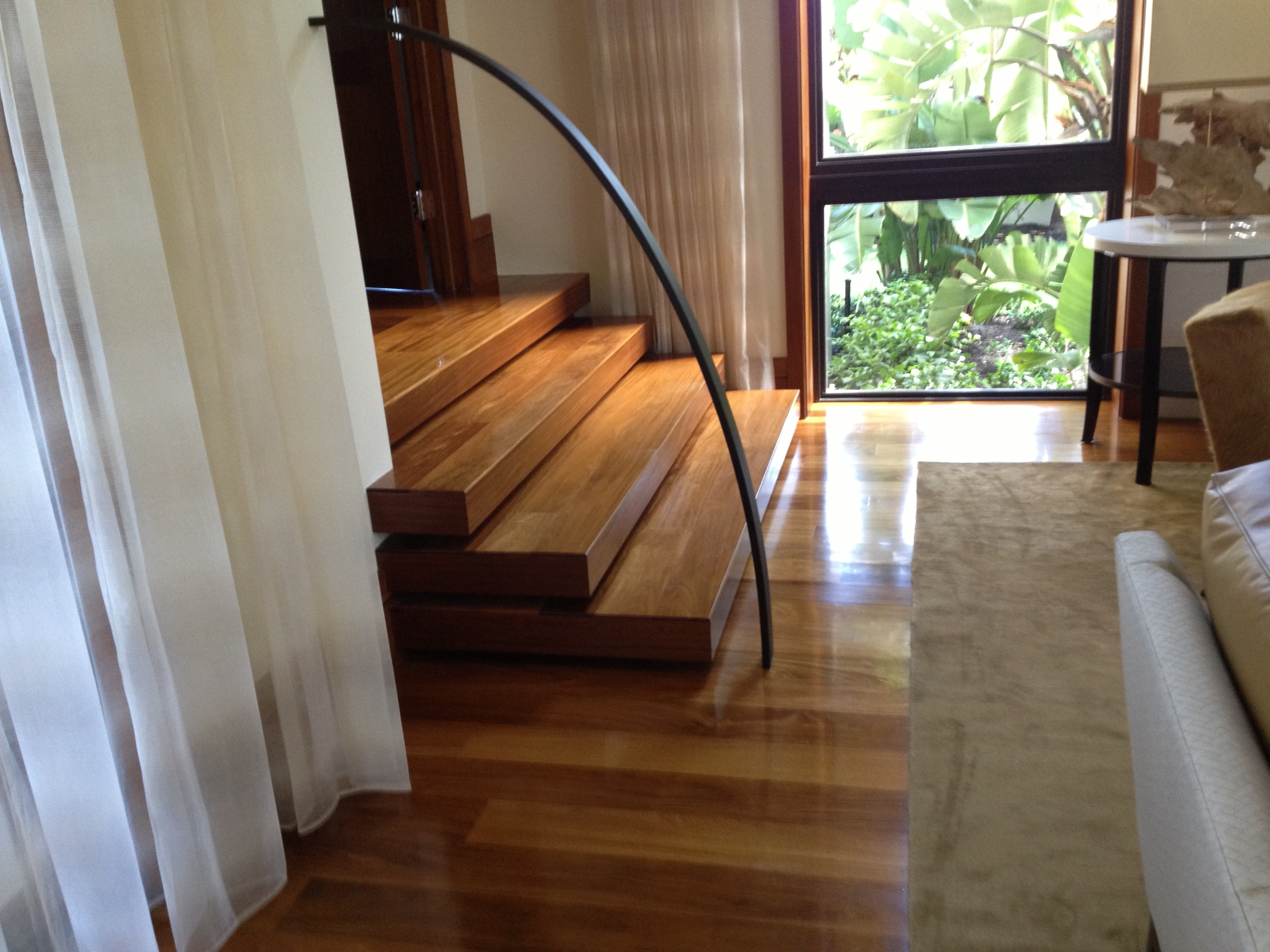 Solid Celtis Light Custom Stairs and Floor