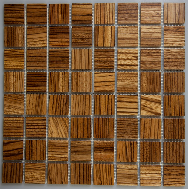 Zebrawood 33.5mm x 33.5mm Wood Tile