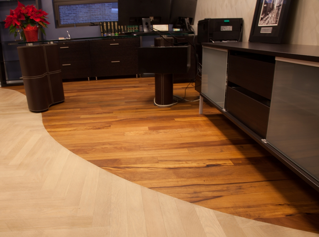 African Celtis Natural Light with Loba Natural Oil, and Bleached White Oak Herringbone with Loba White Oil.     Photo Courtesy of A&B Hardwood Flooring Supplies, Chicago, Illinois