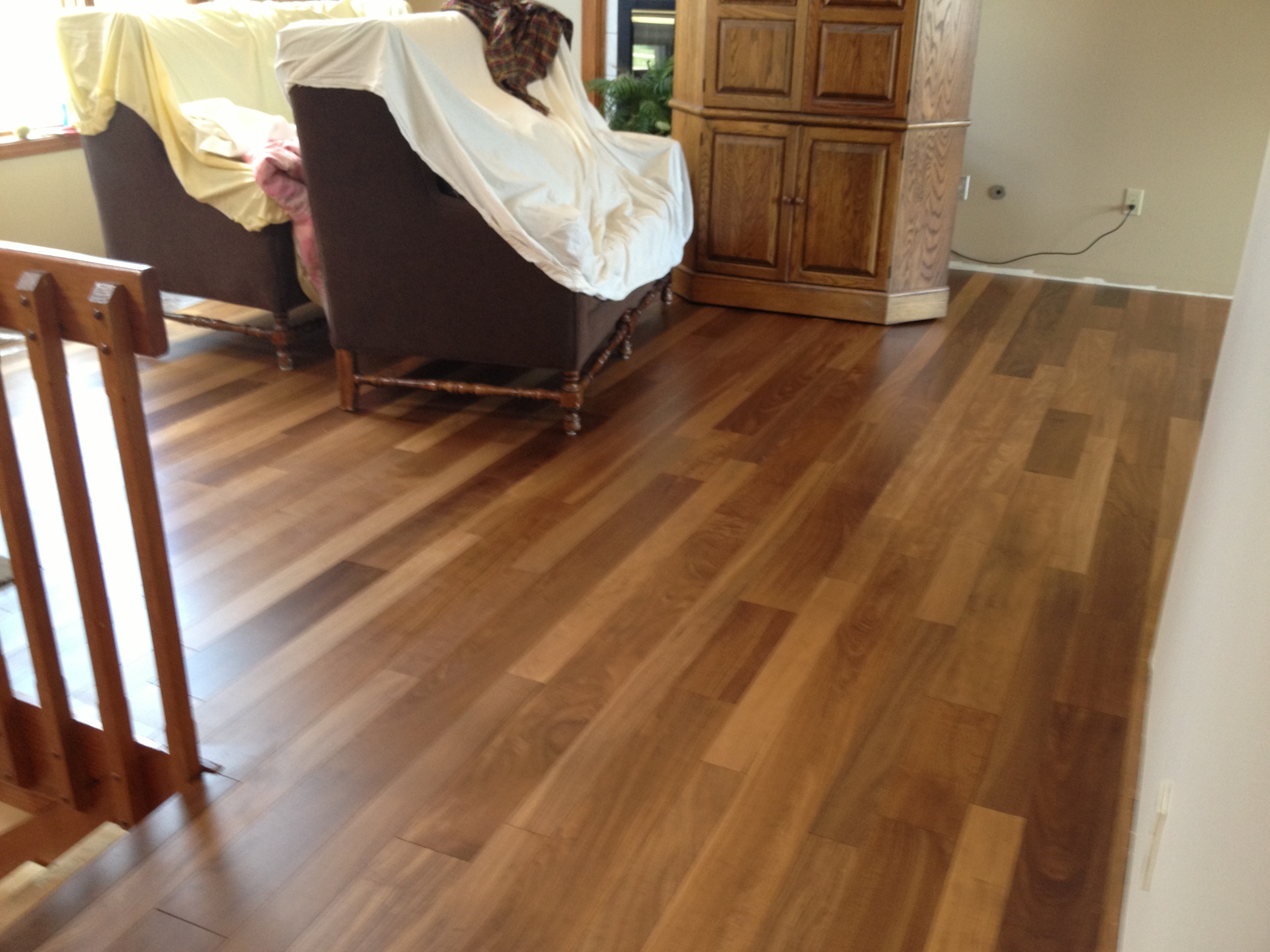 """African Celtis Medium Prefinished Solid Mixed Width 3-1/2"""" and 5-1/2"""""""
