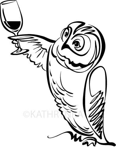 note:  I in no way condone owls drinking wine