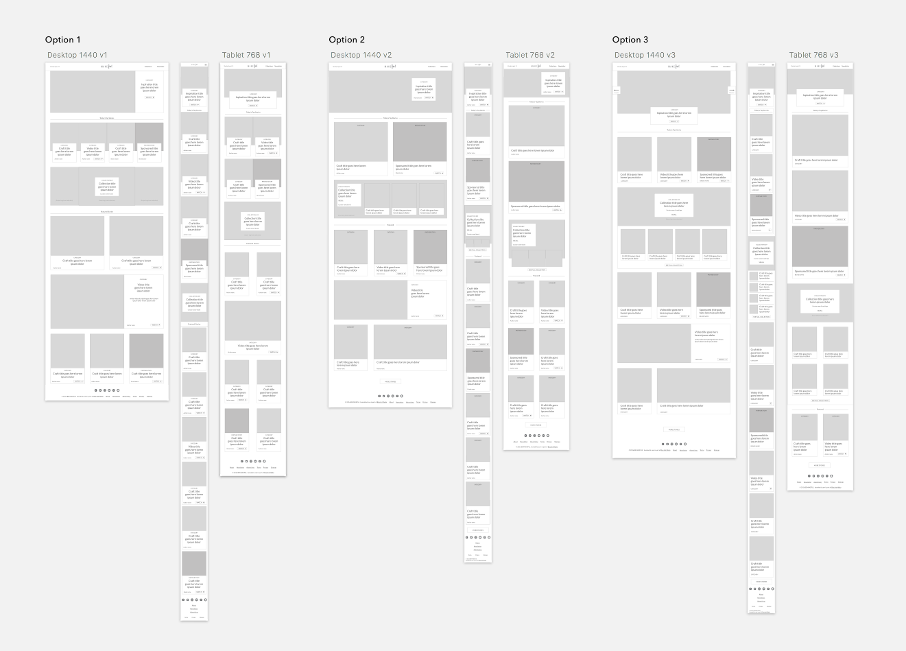 Initial wireframe options for the proposed homepage showing native advertisement placements, number or posts and responsive grids. Since we didn't yet have content for the site, part of the process was to determine how many posts would be required each week to keep the site looking fresh as well as how the various modules could behave responsively.