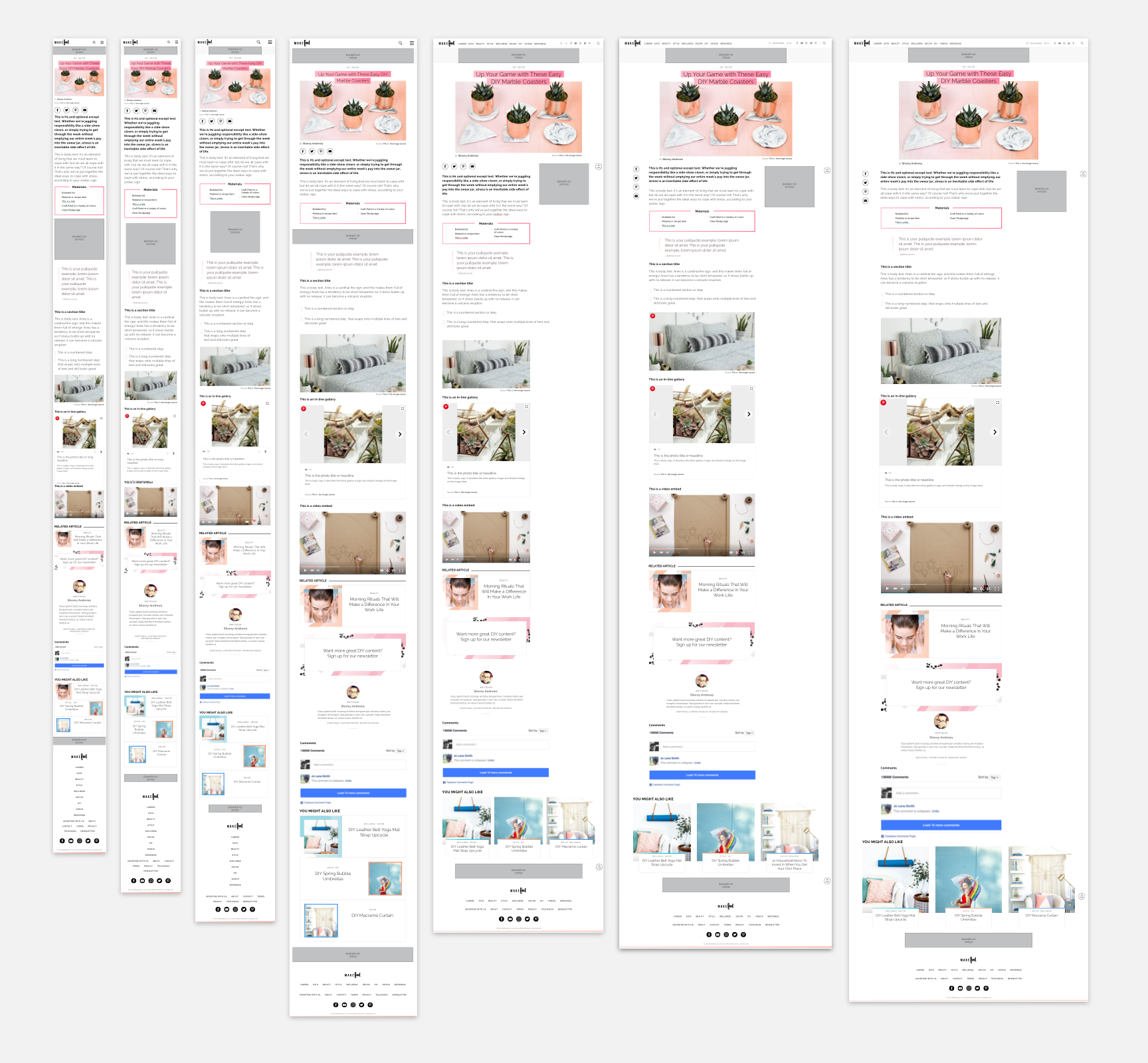 Article with an image hero showing all the various components at all screen sizes. The site was designed and built in such a way that the components could be utilized based on the editor's needs, but wouldn't always necessarily be visible.