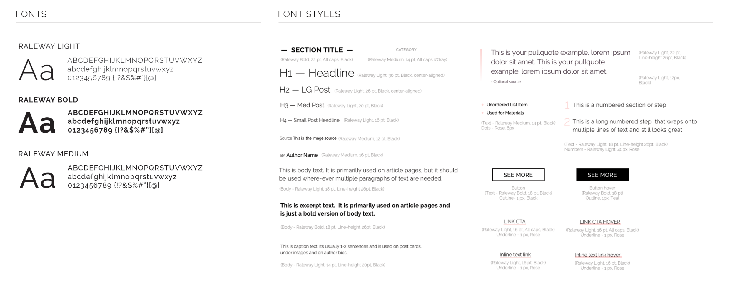 Sample of the key text styles used in the design.Fonts on the site were limited to three weights of the font Raleway, Light, Medium and Bold.