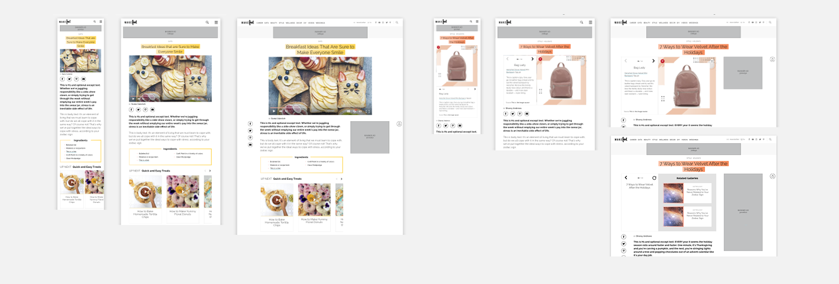 Depending on the article type, the top of the article would change. For example on a video article, the headline would no longer overlap the hero image, and in addition to the components on the default article,the playlist widget would become available. Gallery pages were treated slightly differently because a user is less likely to scroll.To generate the maximum number of ad impressions the second ad was moved above the fold on desktop and would refresh each time a new slide loads.