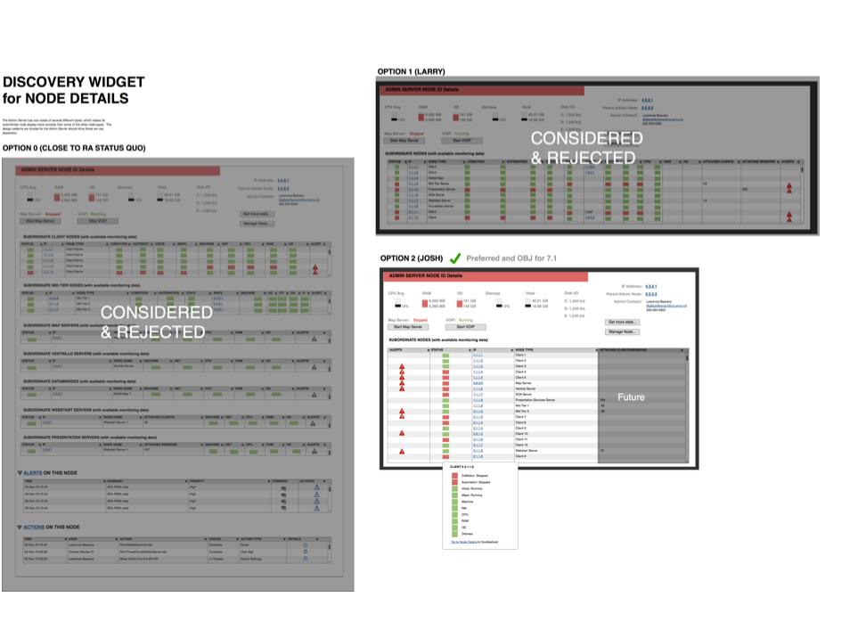 With the framework in place, we divided up the modules in the system and delved into detailed design specifications. This interaction document, done in Balsalmiq, shows three different options we considered, and initial interaction details for the one we accepted.