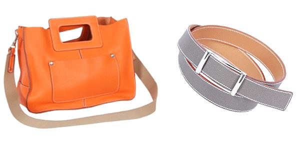 Luz women's bag in orange taurillon leather    Robert women's belt in grey leather