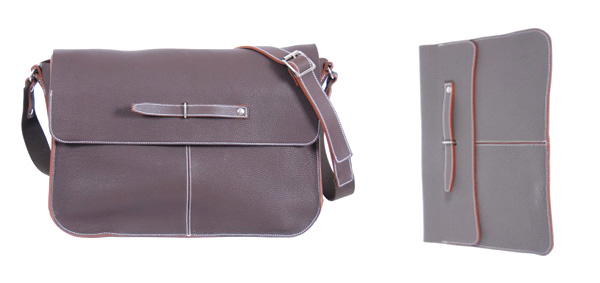 Lino men's bag in brown taurillon leather    Pochette for Ipad in grey taurillon leather