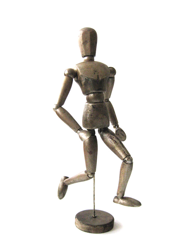 Hand painted wooden mannequin in pewter