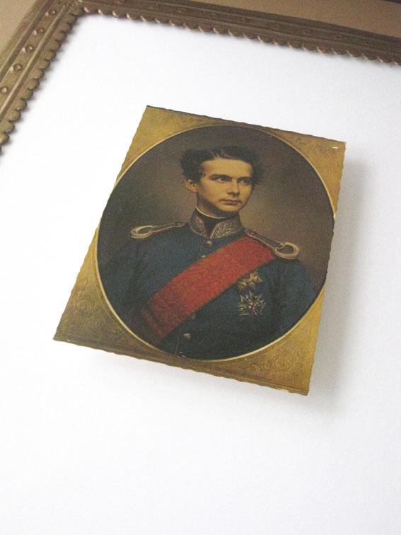 Art box with vintage postcard of King Ludwig II